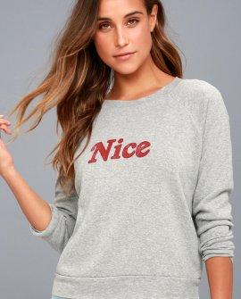 Naughty or Nice Heather Grey Reversible Sweatshirt