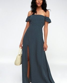 Navy Blue Polka Dot Off-the-Shoulder Maxi Dress