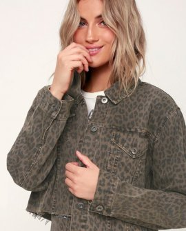 Naya Washed Brown Leopard Print Denim Jacket