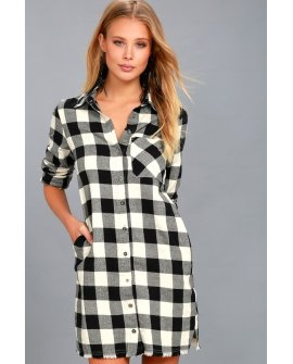Neck of the Woods Black and White Plaid Shirt Dress