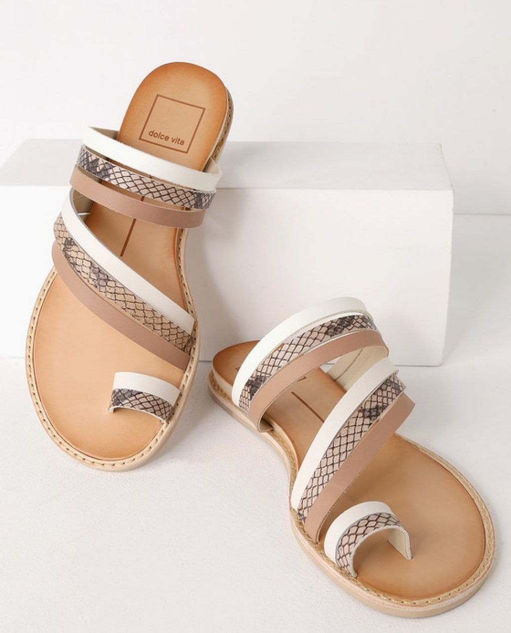 Nelly White Multi Leather Flat Sandal Heels