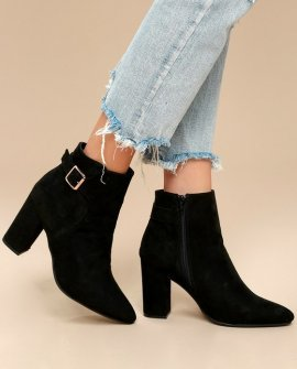 Neva Black Suede Pointed Toe Ankle Booties