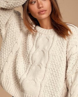 Never Be Apart Ivory Chenille Cable Knit Sweater