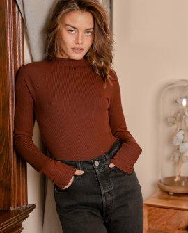 New Attitude Rust Brown Cutout Long Sleeve Bodysuit