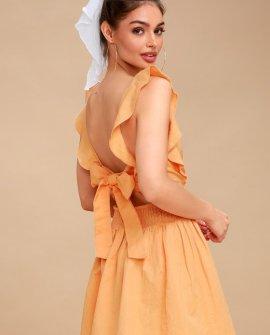 New Erin Golden Yellow Tie-Back Skater Dress