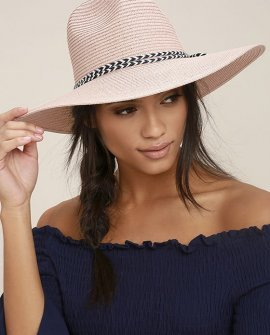 New Me Blush Floppy Straw Hat