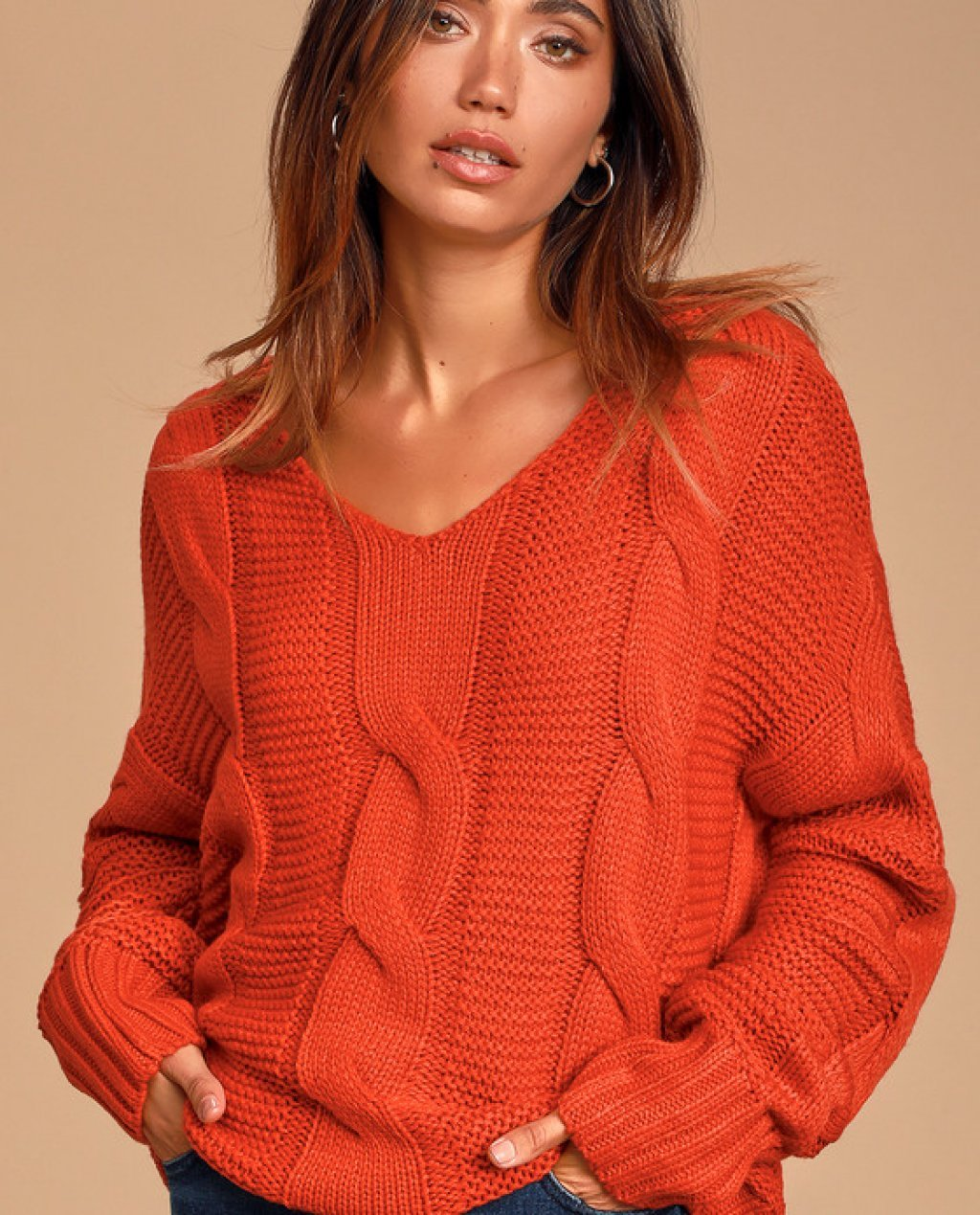 New Possibilities Red Orange Cable Knit Sweater