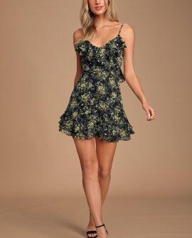 New Romantic Black Floral Print Ruffled Backless Skater Dress