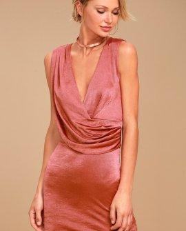 New Rules Rusty Rose Satin Sleeveless Bodycon Dress