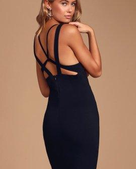 New Thrills Black Strappy Backless Bodycon Mini Dress