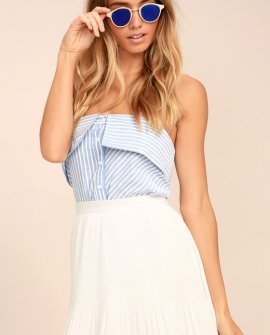 Next to Me White Pleated Mini Skirt