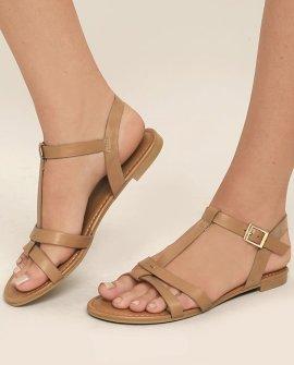 Nia Tan Flat Sandals