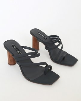Nicola Midnight Blue Leather Strappy High Heel Sandal Heels