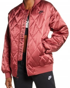Nike Logo Diamond Quilted Satin Jacket