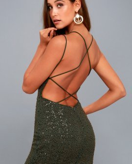 Nimah Olive Green Beaded Backless Dress