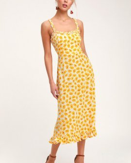 Noemie Yellow Floral Print Ruffled Midi Dress