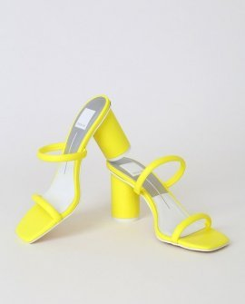Noles Neon Yellow Leather High Heel Sandal Heels