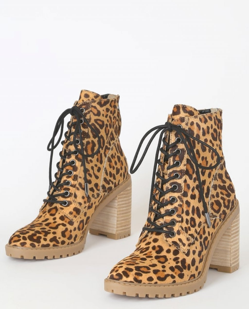 Norma Dark Leopard Calf Hair Lace-Up Ankle High Heel Boots