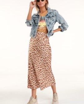 Normani Brown Leopard Print Satin Midi Skirt