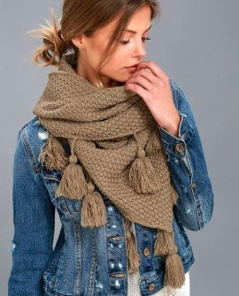 Northern Hemisphere Khaki Knit Scarf