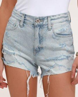 Nova Light Wash High-Waisted Distressed Denim Shorts