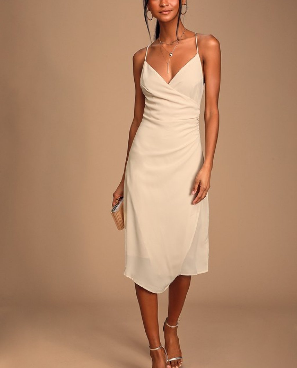Backless Surplice Midi Dress