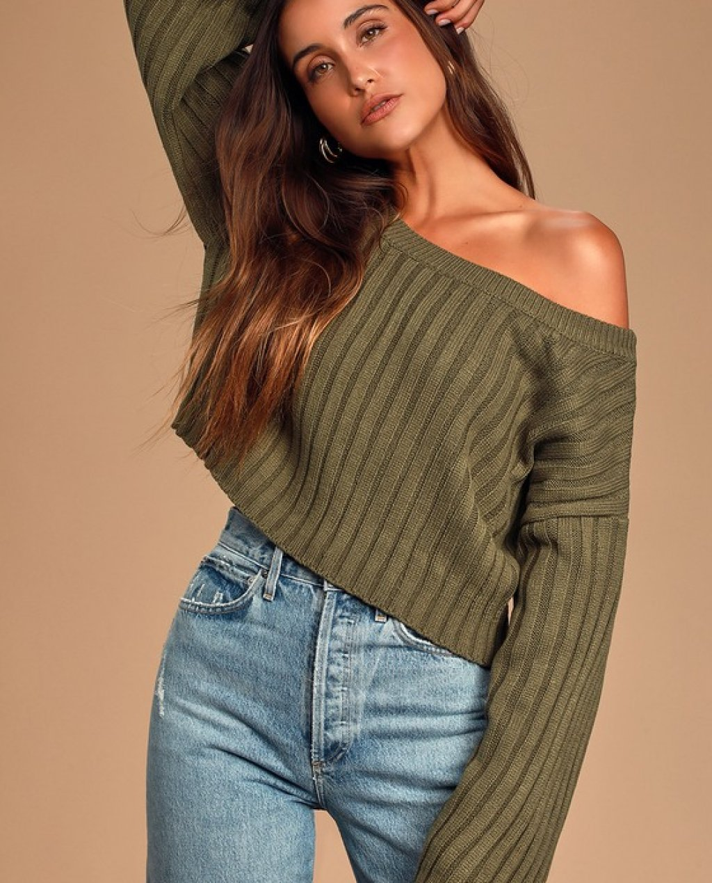 Novara Olive Green Ribbed Cropped Sweater