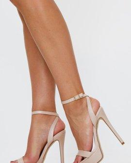 Nude Faux Suede Platform Stiletto Heeled Sandals