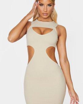 Nude Sleeveless Multi Cute Out Bodycon Dress