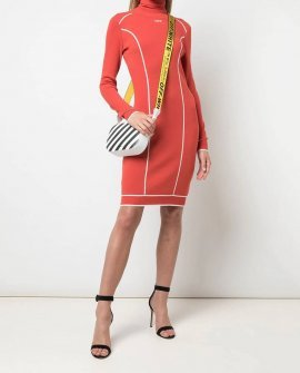 OFF WHITE Atheletic Logo Turtleneck Fitted Dress