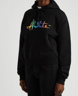 OFF-WHITE Black logo hooded cotton sweatshirt