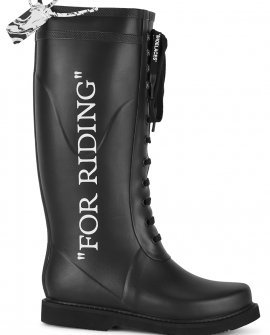 OFF-WHITE For Riding black rubber wellington boots