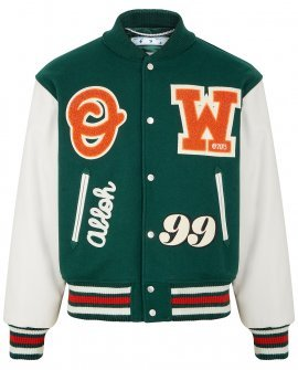OFF WHITE Green wool-blend and leather bomber jacket