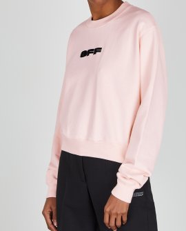 OFF-WHITE  Light pink logo cotton sweatshirt