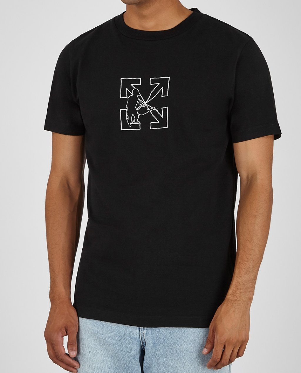OFF WHITE Logo Workers black embroidered cotton T-shirt
