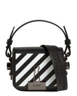 OFF-WHITE Printed Stripe Baby Leather Shoulder Bag
