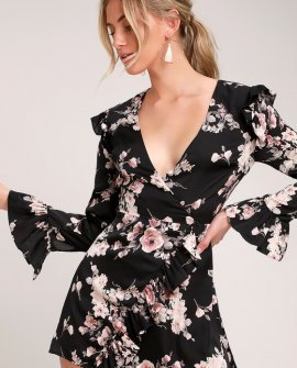 Oaklynn Black Satin Floral Print Skort Dress