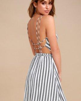 Oceanside Adventure White Striped Backless Skater Dress