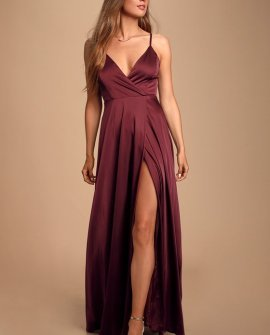 Ode To Love Burgundy Satin Maxi Dress