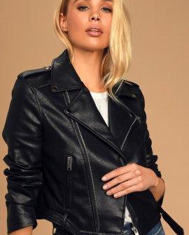 Off The Edge Black Vegan Leather Moto Jacket