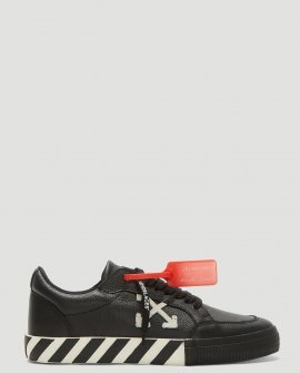 Off White Low-Top Vulcanised Sneakers in Black