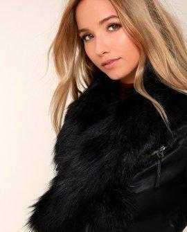 Oksana Black Faux Fur Scarf
