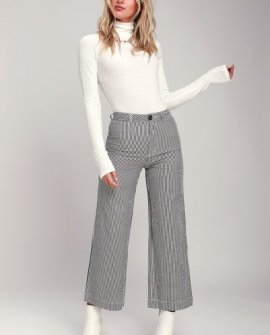 Old Mate Navy Blue Striped Wide-Leg Pants