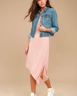 Olive & Oak Penelope Blush Pink Sleeveless Midi Dress