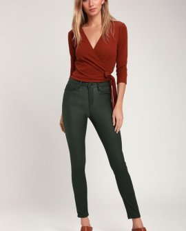 Olivia Olive Green High Rise Vegan Leather Skinny Jeans