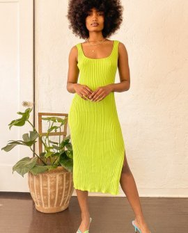 Olson Lime Green Ribbed Bodycon Midi Dress
