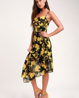 On and Off Black and Yellow Floral Print Asymmetrical Midi Dress