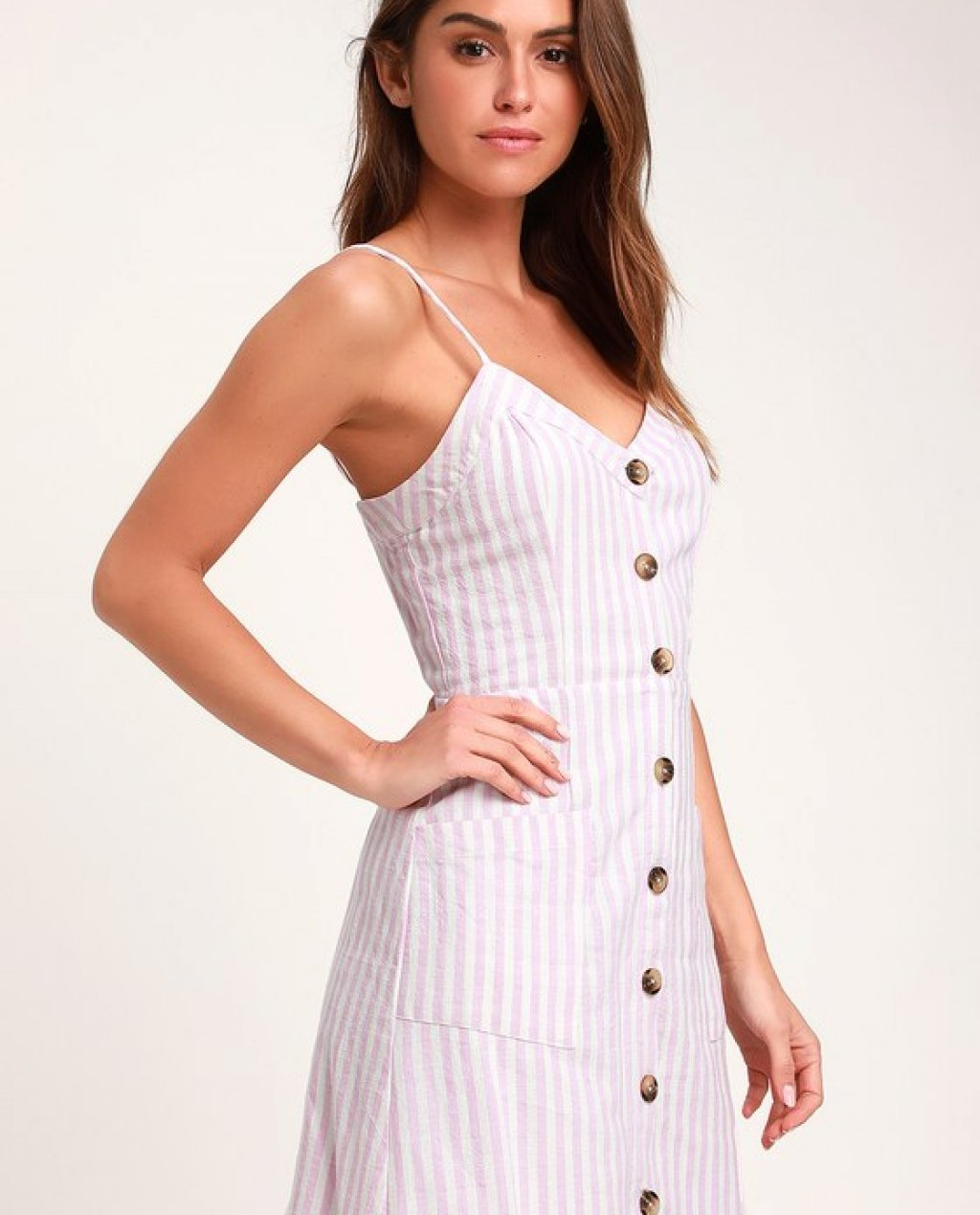 On the Pier Lavender and White Striped Button Front Mini Dress