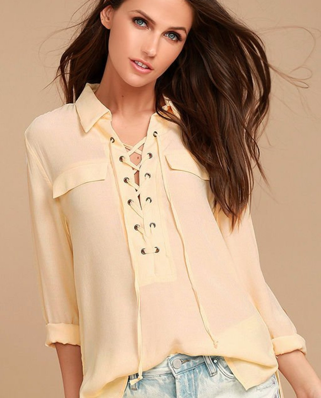 Once in a Lifetime Light Beige Lace-Up Top