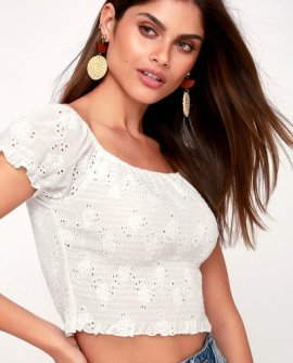 One Kiss White Smocked Eyelet Off-the-Shoulder Crop Top